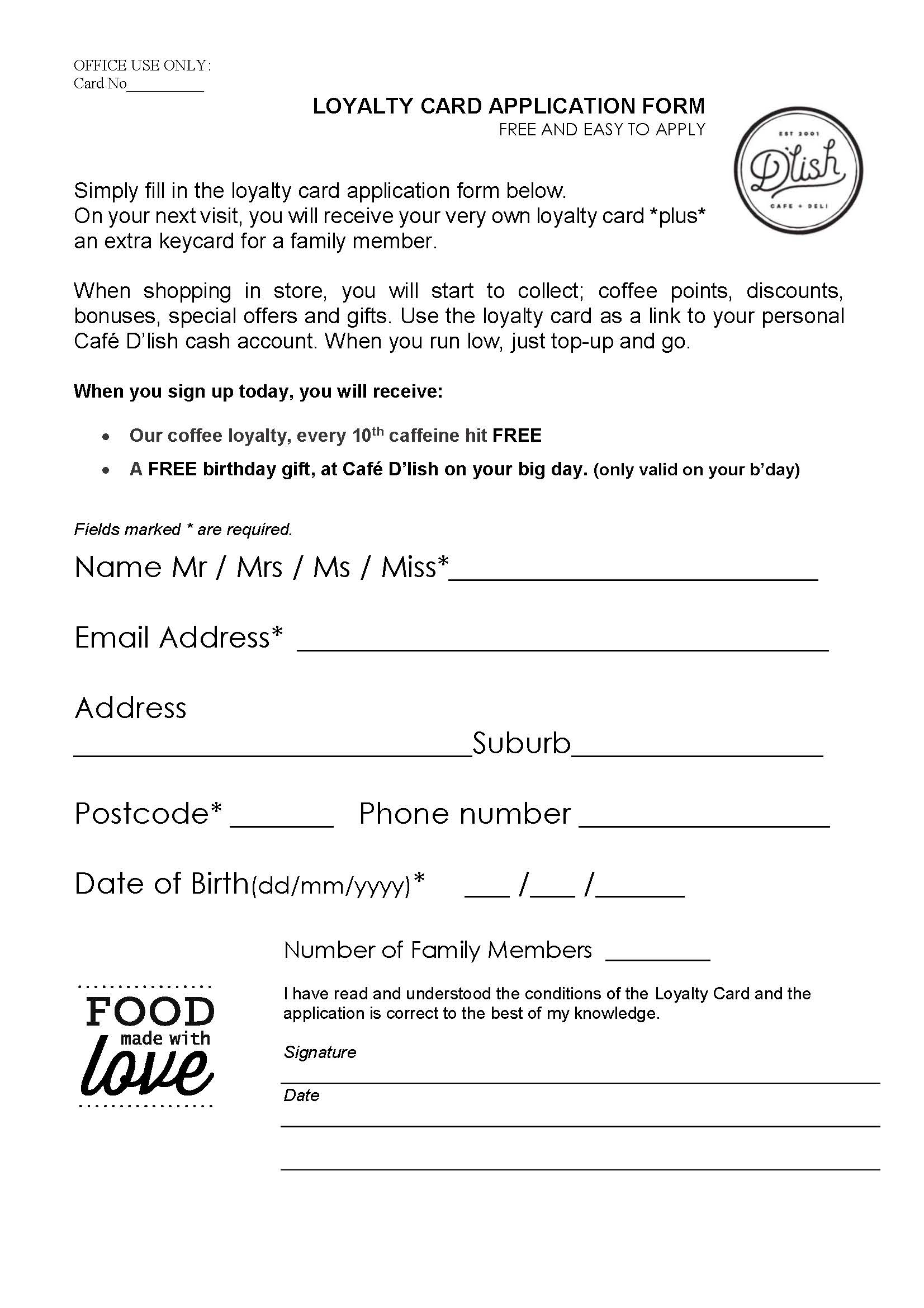 loyalty card application form (Feb 18)
