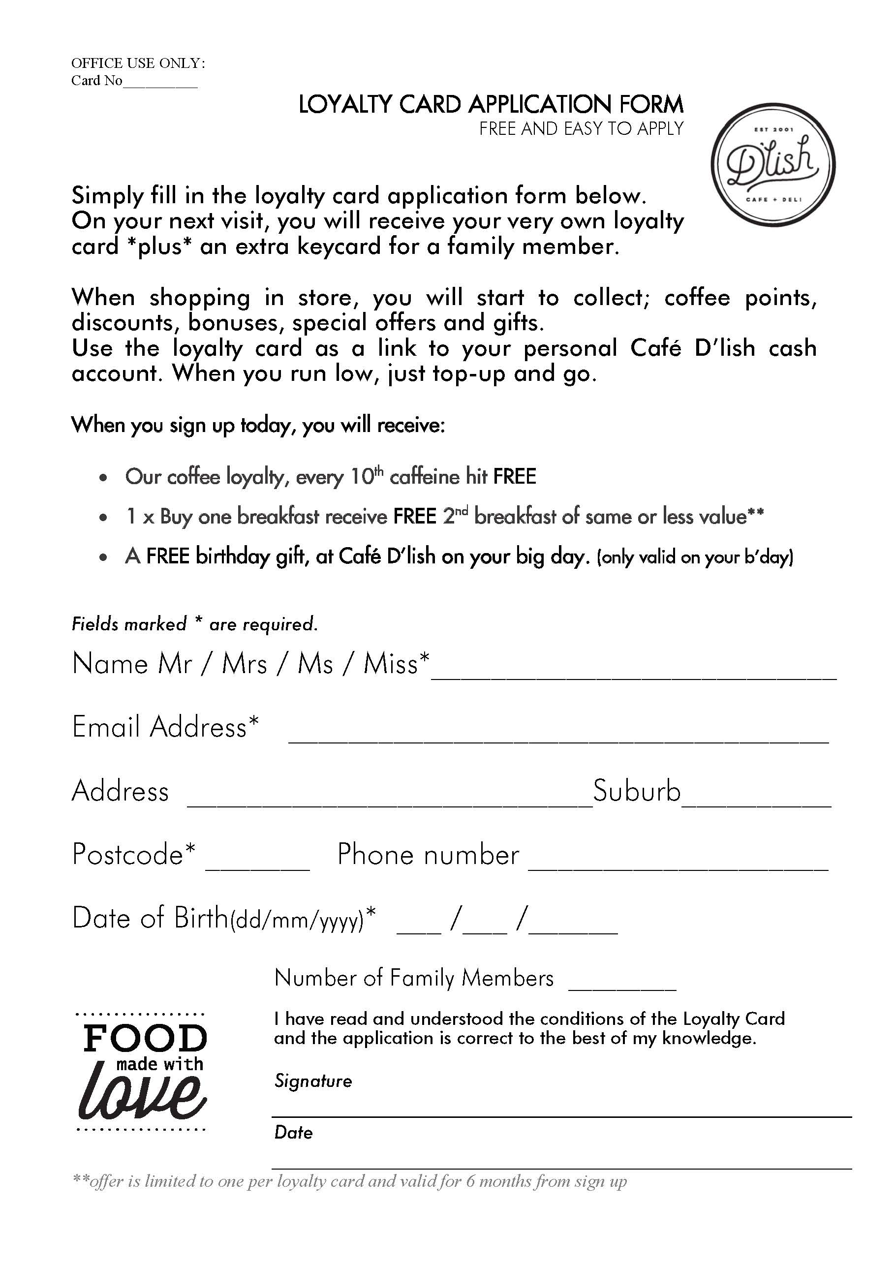 loyalty card application form